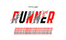 Vector Of Glitch Modern Alphabet Letters And Numbers, Grunge Linear Stylized Fonts, Minimal Letters Set For Futuristic, Broken, Universal, Branding & Other.