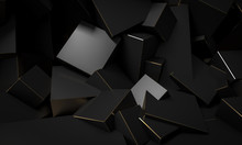 Black Cubic Blocks With Gold Edges, Minimalist Abstract Background.