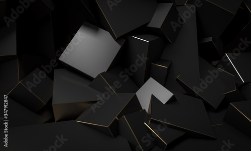 Fototapeta black cubic blocks with gold edges, minimalist abstract background. obraz