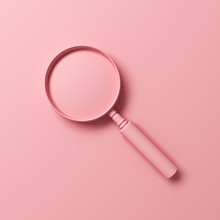 3d Pink Magnifying Glass Isola...