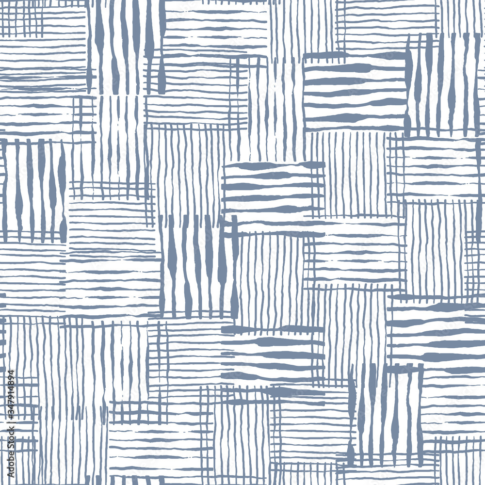 Fototapeta Vector seamless pattern of weaving texture. Abstract stylish background with hand drawn lines.