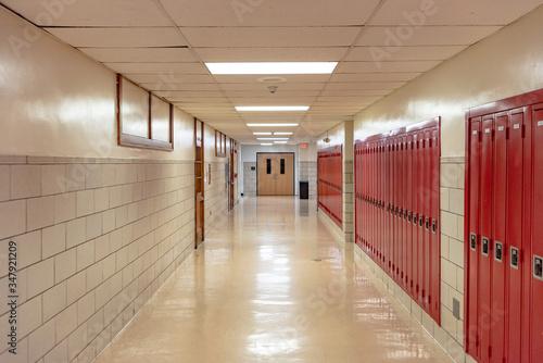 Empty School Hallway Canvas Print