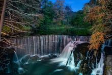 Manmade Falls At Night Light P...