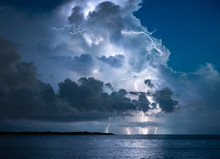 Storm Clouds And Lighting Storm Roll Through St. Petersburg, FL