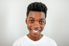 Smiling Preteen Black Boy Wear...