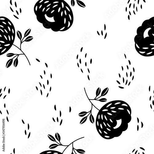 Seamless floral pattern based on traditional folk art ornaments Fototapet