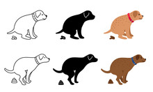 Pooping Dog Vector Illustration. Dogs Poop Clip Art, Pet Feces And Dog Vector Silhouettes Isolated On White Background
