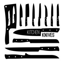 Butcher Knives Silhouettes. Bu...