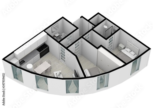 Photo House Floor Plan elevation 3d