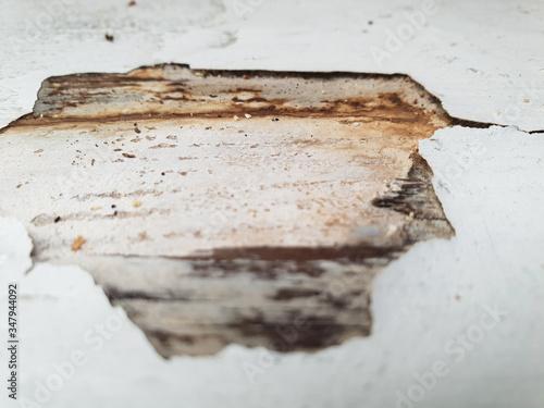 Obraz Zbliżenie starej drewnianej deski z odpadającą białą farbą. - fototapety do salonu