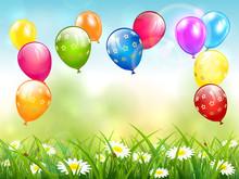 BlueColorful Birthday Balloons...