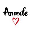 Female name drawn by brush. Hand drawn vector girl name Amede.
