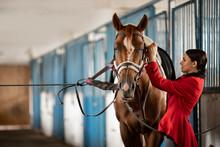 Woman Horseman Preparing To Ri...