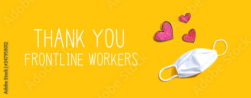 Obraz Thank You Frontline Workers message with a face mask and heart drawings - fototapety do salonu