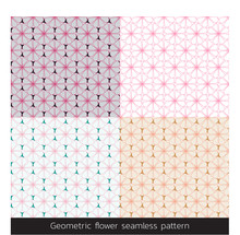 Geometric Pink Flower Seamless Pattern. Floral Fancy Japanese Background Vector.