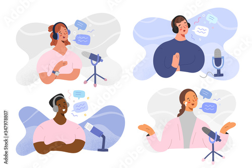 Podcast host people, women and man characters recording radio program, broadcast Canvas-taulu