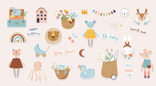 Trendy Baby And Children Illustrations, Stickers, Tattoos. Vintage Style. Vector Illustrations