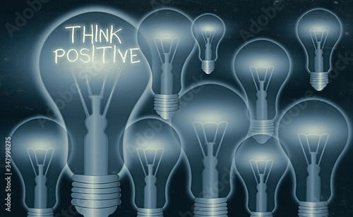 Conceptual hand writing showing Think Positive Canvas Print
