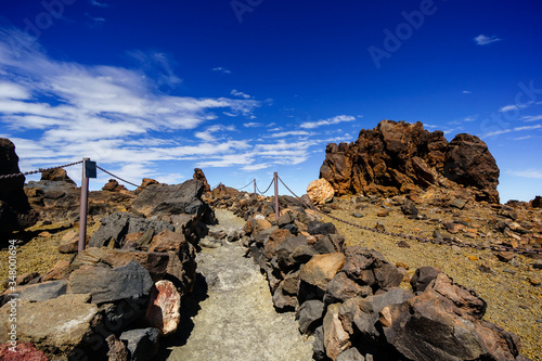 Fototapeta hiking trail to the top of Teide Tenerife volcano, Canary Islands, Spain obraz