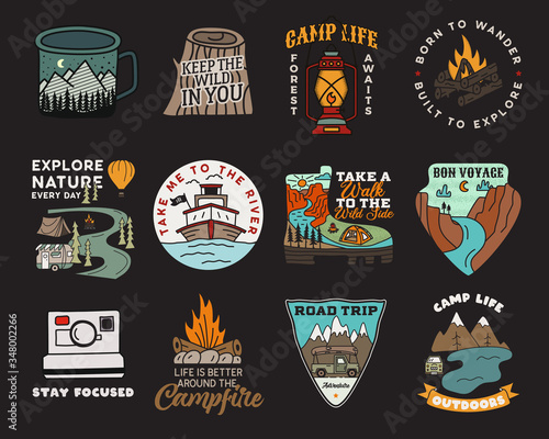 Vintage mountain camp badges logos set, Adventure patches Fototapet