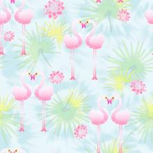 Flamingo Plant Print