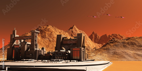 Mars Landscape - Three spacecraft fly near an installation habitat on the red planet of Mars in the future Fototapeta