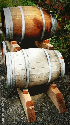 Photo Wine Barrels In Back Yard