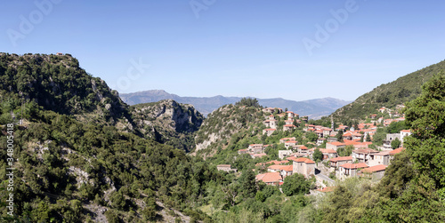 View of the village Stemnitsa in the mountains on a sunny day (district Arcadia, Peloponnese, Greece) Canvas Print
