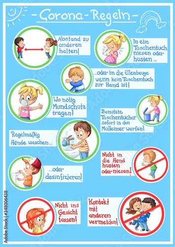 Plakat mit Corona-Regeln auf Deutsch - Vektor-Illustration Fototapete