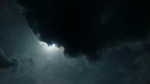 Sun Shining Behind Stormy Clouds