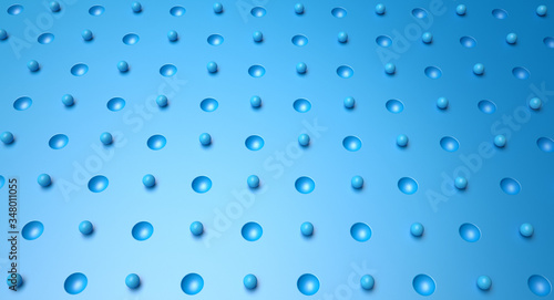 Valokuvatapetti abstract blue background with drops and dimples. 3d illustration