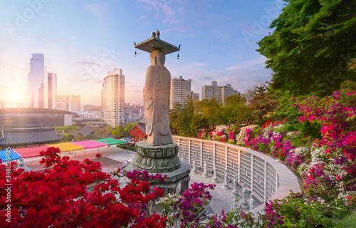 Obraz Sunrise of Bongeunsa Temple in Seoul South Korea - fototapety do salonu
