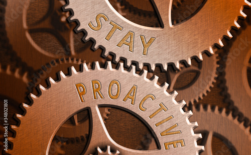 Text sign showing Stay Proactive Wallpaper Mural