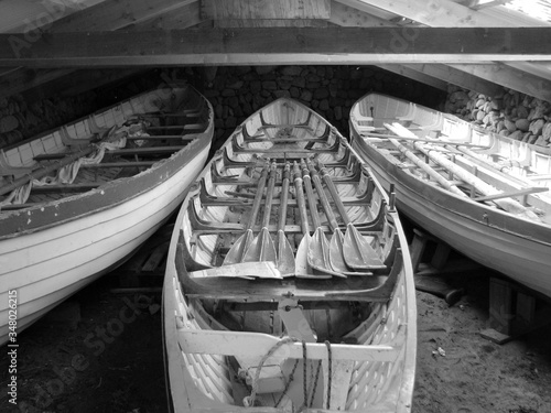 Wallpaper Mural Rowboats In Workshop