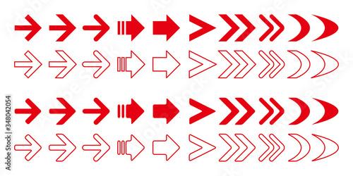 Obraz 赤い矢印アイコンベクターイラストセット  - fototapety do salonu
