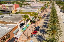 Aerial Photo Shops At Daytona Beach FL USA Palm Lines Streets
