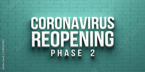 Covid-19 Coronavirus Reopening Phase 2 banner Wallpaper Mural