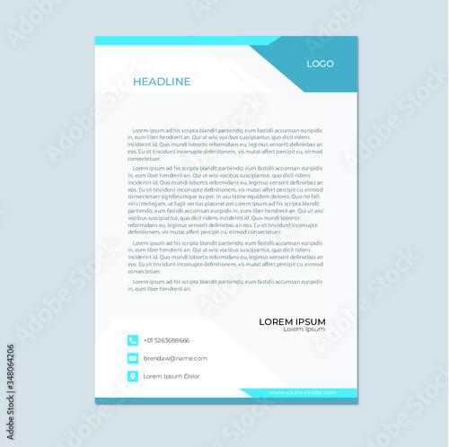 Fototapeta Simple Professional Letterhead Template | Modern Creative Letterhead | Letterhead Design | Abstract Letterhead | Stylish Letterhead | Business Letterhead | Colorful Letterhead | Ediitable Letterhead.  obraz