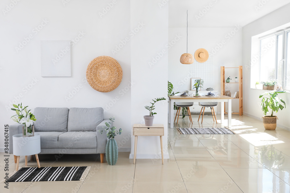 Fototapeta Interior of modern stylish dining room in studio apartment