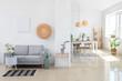 Leinwanddruck Bild - Interior of modern stylish dining room in studio apartment