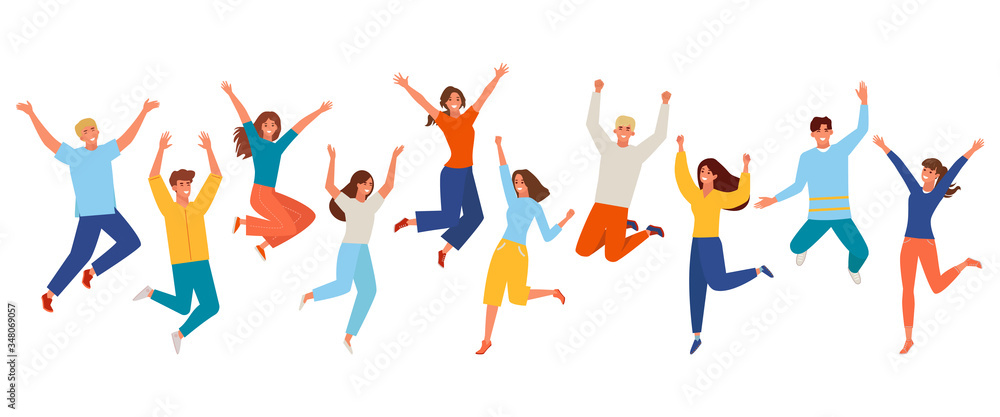 Fototapeta People happy jumping set. Young funny teens large group guy, girl, jumping together joy lifestyle celebration victory team smiling students celebrates success. Color cartoon vector.