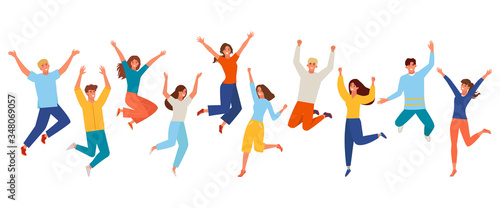 Fototapeta People happy jumping set. Young funny teens large group guy, girl, jumping together joy lifestyle celebration victory team smiling students celebrates success. Color cartoon vector. obraz