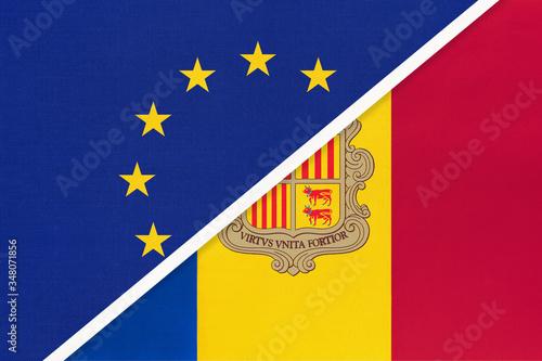 European Union or EU vs Andorra national flag from textile Wallpaper Mural