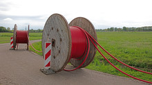 Huge Roll Of Cable For Underground Cable Installation
