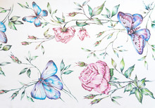 Butterfly And Flower Pattern H...