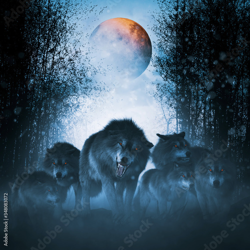 Canvas Print The pack of red moon,Group of ferocious wolf in the forest,3d illustration