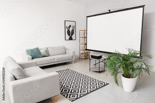 Interior of room with video projector Wallpaper Mural