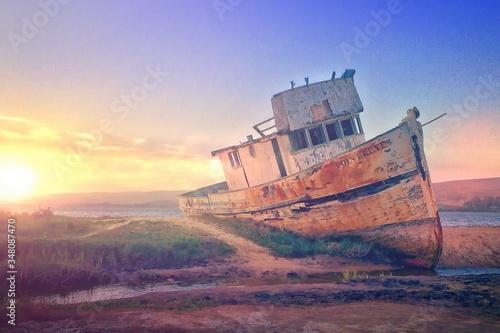 Obraz na plátně Ship Wreck On Sandy Shore