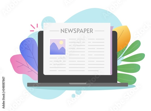 Newspaper online digital vector in laptop computer or pc electronic news paper t Canvas Print