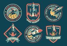Space Vintage Badges, Emblems And Labels Set. Rocket Retro Logos Pack. Vector Illustartion.